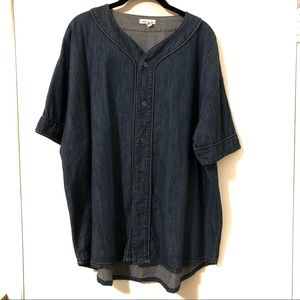 Denim Oversized Baseball Tunic